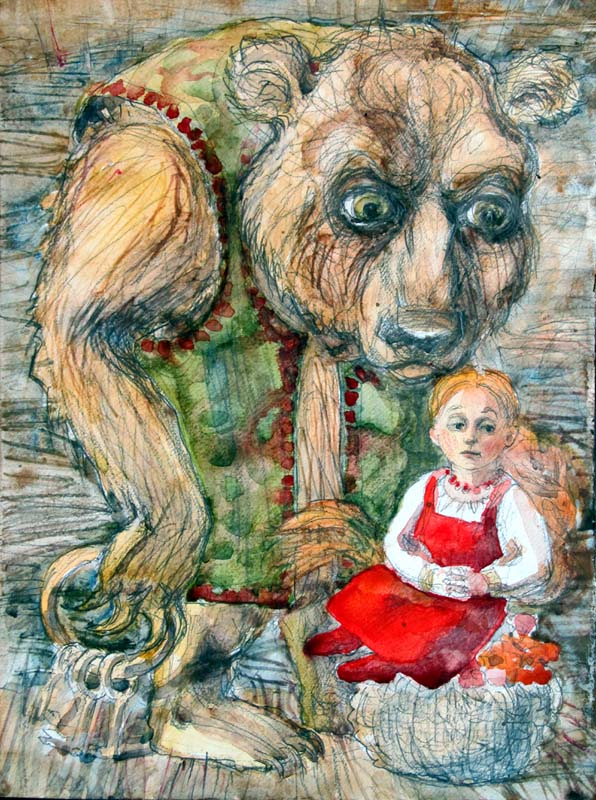 picture to the Russian folk tale Masha and the Bear
