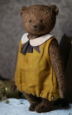 ooak teddy bear girl in dress