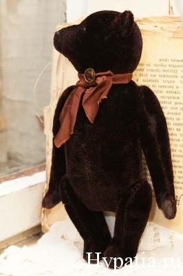 Медведь Тедди из антикварного мебельного бархата. Гипатия.