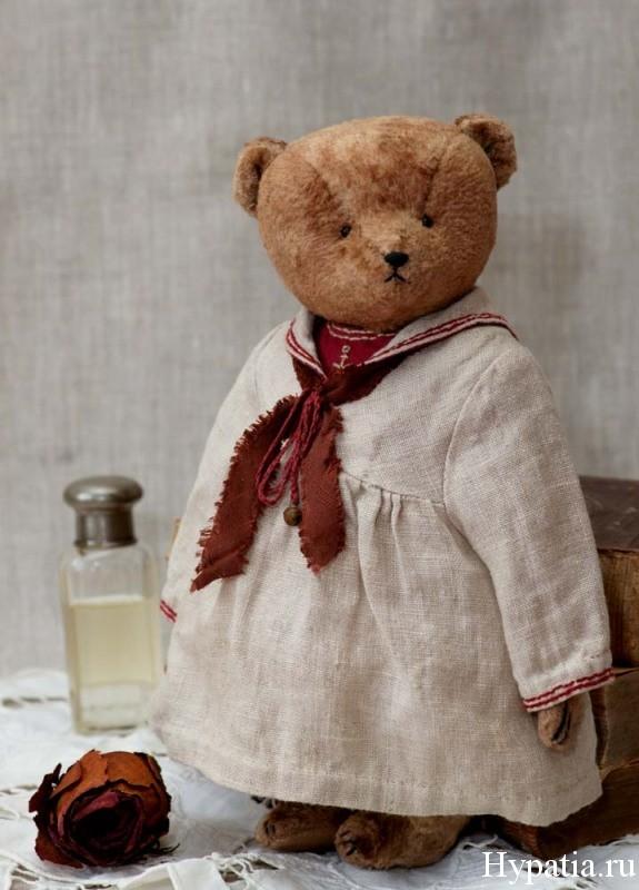 Авторский мишка девочка в платье матроске