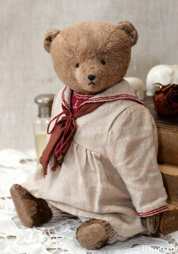 Авторский мишка в матросском платье начала 20 века девочки