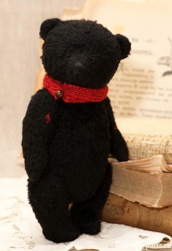 черный плюшевый мишка ручной работы